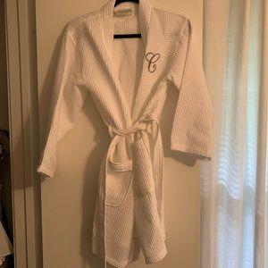 "Other - White waffle robe with ""C"" monogram"
